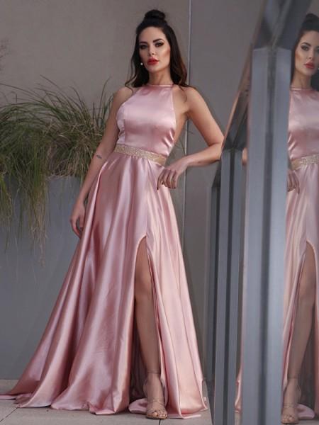 A-Line/Princess Elastic Woven Satin Ruffles Halter Sleeveless Sweep/Brush Train Dresses