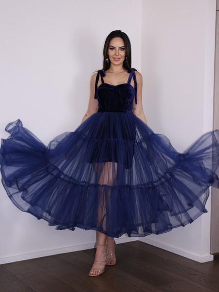 A-Line/Princess Tulle Ruffles Spaghetti Straps Sleeveless Tea-Length Homecoming Dresses