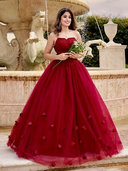 Ball Gown Tulle Applique Sweetheart Sleeveless Floor-Length Dresses