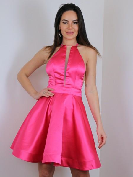 A-Line/Princess Satin Ruffles Halter Sleeveless Short/Mini Dresses