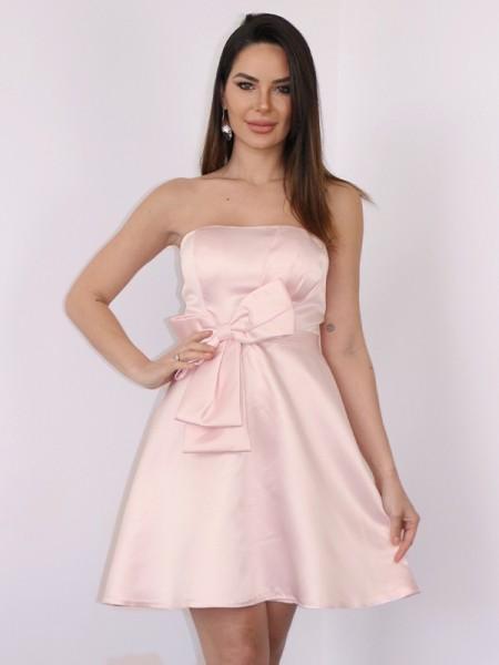 A-Line/Princess Satin Bowknot Strapless Sleeveless Short/Mini Dresses