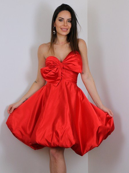 A-Line/Princess Satin Bowknot Sweetheart Sleeveless Short/Mini Dresses