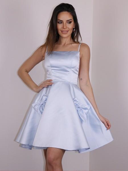 A-Line/Princess Satin Bowknot Spaghetti Straps Sleeveless Short/Mini Dresses