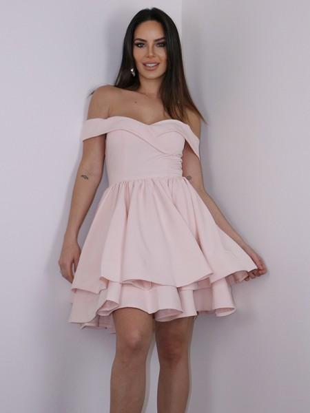 A-Line/Princess Stretch Crepe Ruffles Off-the-Shoulder Sleeveless Short/Mini Dresses