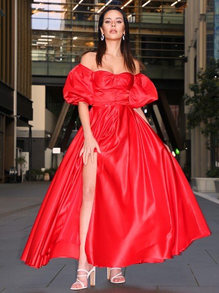 A-Line/Princess Satin Ruffles Off-the-Shoulder 1/2 Sleeves Ankle-Length Dresses