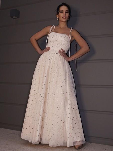 A-Line/Princess Paillette Spaghetti Straps Sleeveless Floor-Length Dresses