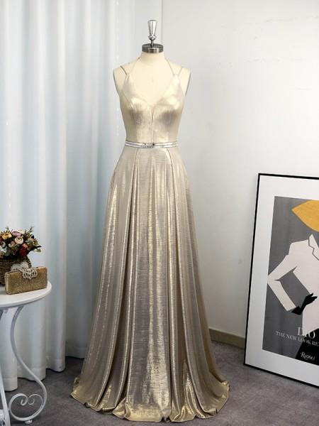 A-Line/Princess Sleeveless Halter Ruffles Floor-Length Dresses