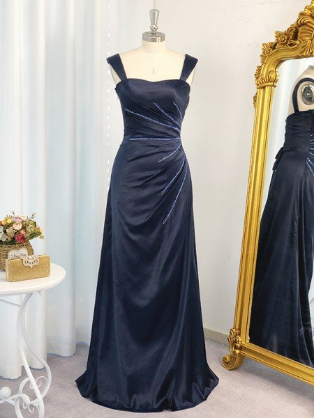 A-Line/Princess Straps Sleeveless Elastic Woven Satin Ruched Floor-Length Dresses