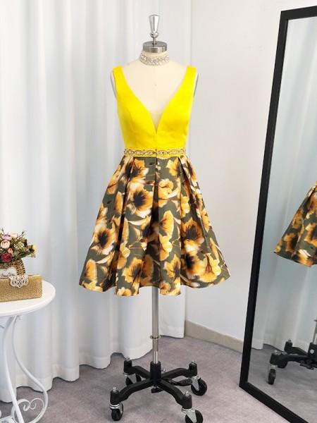 A-Line/Princess Satin Ruffles V-neck Sleeveless Short/Mini Dresses
