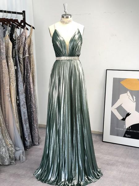 A-Line/Princess V-neck Floor-Length Ruffles Sleeveless Dresses
