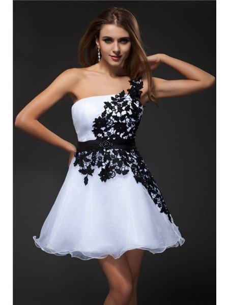 Empire Strapless Applique Sleeveless Short Organza Cocktail Dresses
