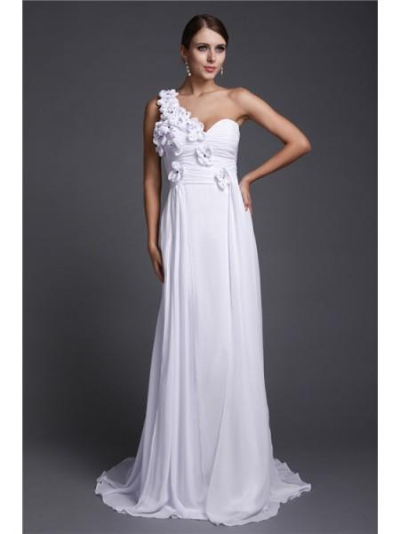 A-Line/Princess One Shoulder Hand-Made Flower Long Sleeveless Chiffon Dresses