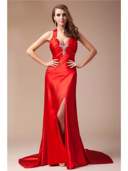 Sheath/Column V-neck Sleeveless Long Elastic Woven Satin Dresses