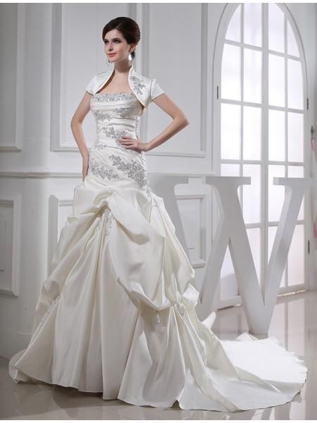 Trumpet/Mermaid Beading Long Satin Sleeveless Strapless Wedding Dresses