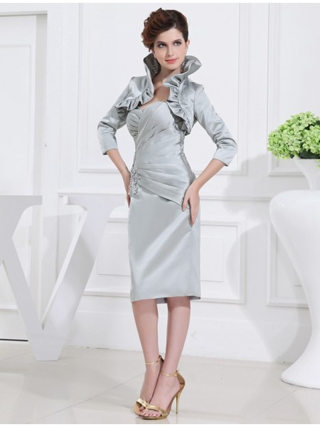 Beading Sweetheart Satin Sleeveless Short Mother of the Bride Dresses