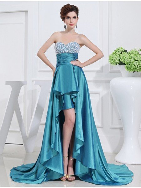 A-Line/Princess Beading Sweetheart High Low Sleeveless Taffeta Dresses