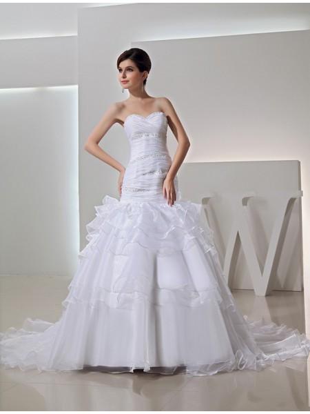 Trumpet/Mermaid Beading Sweetheart Long Organza Wedding Dresses