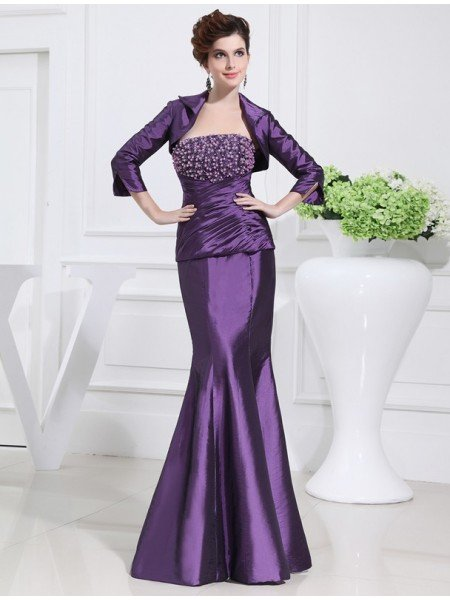 Trumpet/Mermaid Beading Strapless Sleeveless Long Taffeta Mother of the Bride Dresses