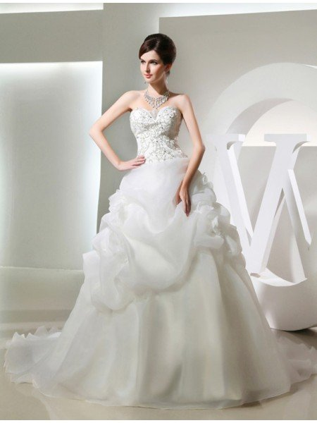 Ball Gown Beading Hand-made Flower Sleeveless Long Organza Wedding Dresses
