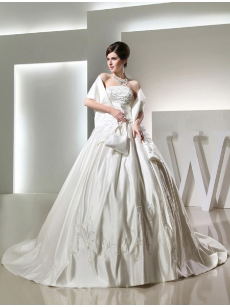 Ball Gown Beading Long Strapless Sleeveless Satin Wedding Dresses
