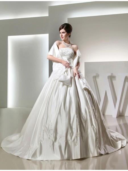 Ball Gown Beading Long Strapless Sleeveless Satin Wedding Dresses