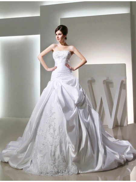 Ball Gown Beading Long Satin Strapless Sleeveless Wedding Dresses