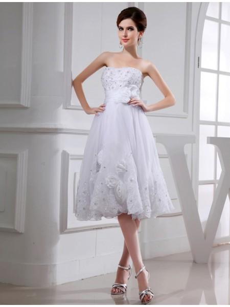 A-Line/Princess Beading Sleeveless Short Organza Taffeta Applique Wedding Dresses