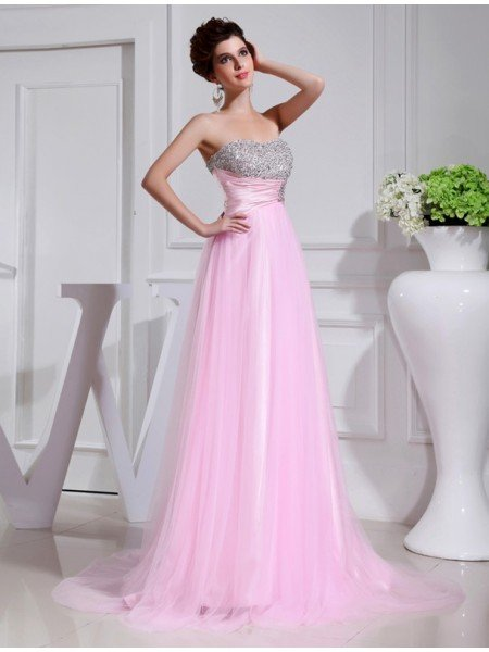 A-Line/Princess Beading Sleeveless Elastic Woven Satin Tulle Dresses