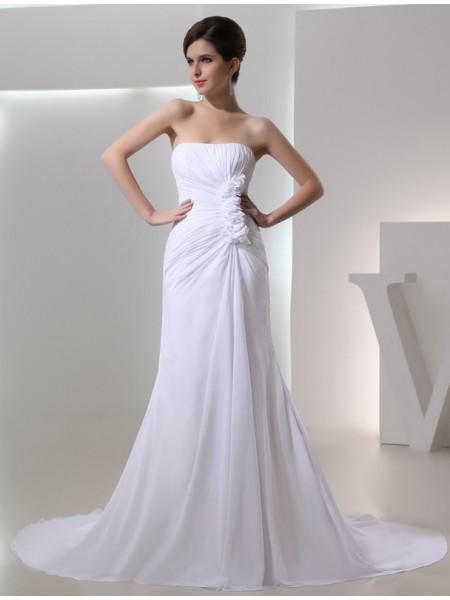 A-Line/Princess Beading Strapless Sleeveless Pleated Chiffon Wedding Dresses