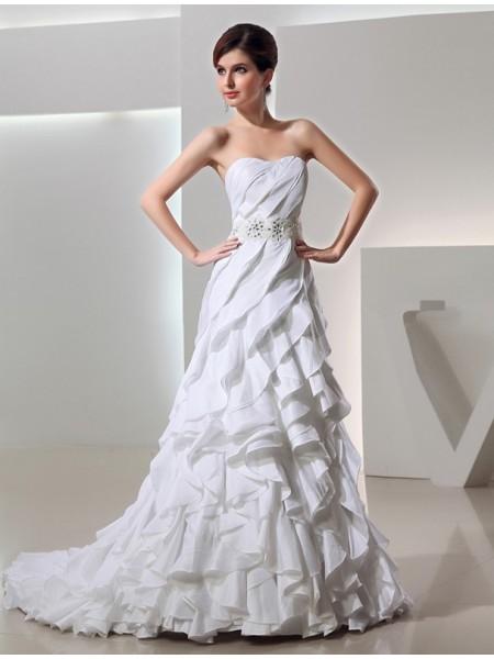 Beading A-Line/Princess Long Sweetheart Sleeveless Taffeta Wedding Dresses