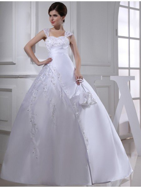 Ball Gown Beading Sleeveless Straps Long Satin Wedding Dresses