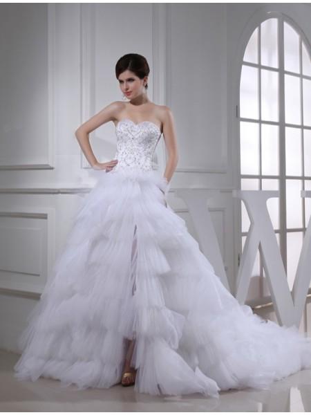 A-Line/Princess Beading Sweetheart Sleeveless Satin Wedding Dresses