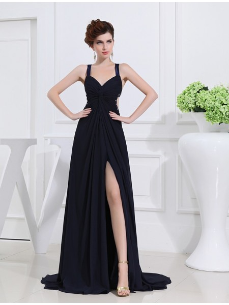 A-Line/Princess Beading V-neck Sleeveless Long Chiffon Dresses