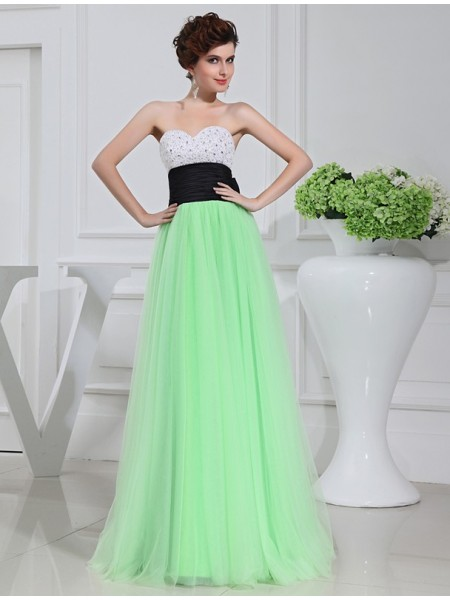 A-Line/Princess Beading Sleeveless Satin Tulle Long Dresses