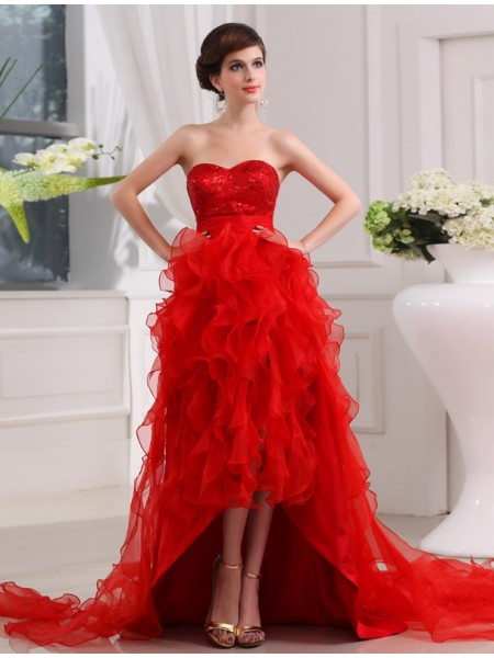 A-Line/Princess Sequin Sweetheart Sleeveless High Low Organza Dresses
