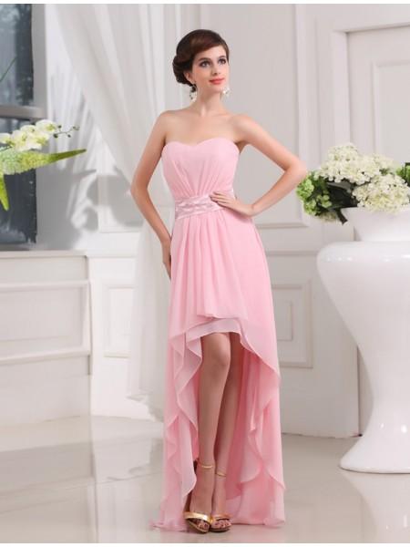 A-Line/Princess Beading Sweetheart Sleeveless High Low Chiffon Dresses