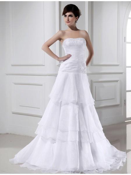 A-Line/Princess Beading Sleeveless Organza Strapless Long Wedding Dresses