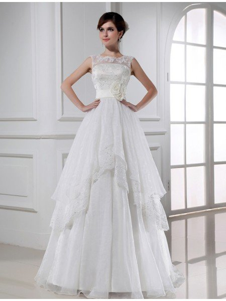 A-Line/Princess Beading Sleeveless Long Lace Organza Wedding Dresses