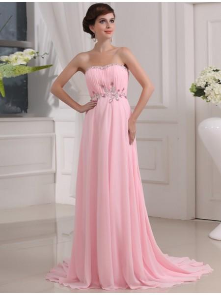 A-Line/Princess Beading Sleeveless Strapless Long Chiffon Dresses