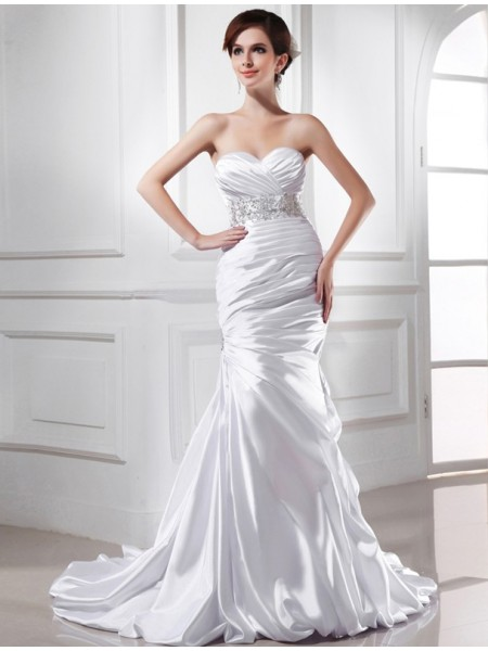 Trumpet/Mermaid Beading Sweetheart Sleeveless Elastic Woven Satin Wedding Dresses