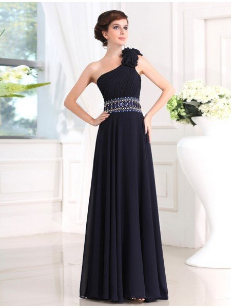 Sheath/Column Beading One-shoulder Sleeveless Long Chiffon Dresses