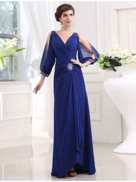 Sheath/Column Beading 3/4 Sleeves V-neck Long Chiffon Dresses