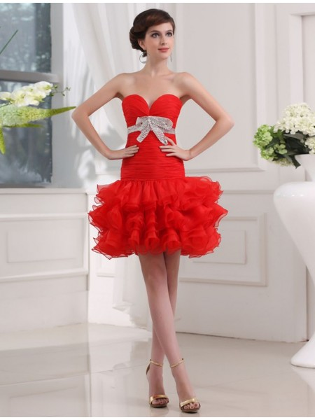 A-Line/Princess Beading Sweetheart Sleeveless Short Organza Cocktail Dresses