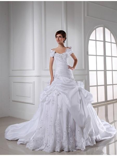 Beading Sweetheart Sleeveless Long Taffeta Wedding Dresses