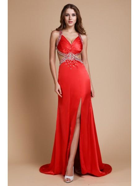 Sheath/Column Straps Beading Sleeveless Long Elastic Woven Satin Dresses