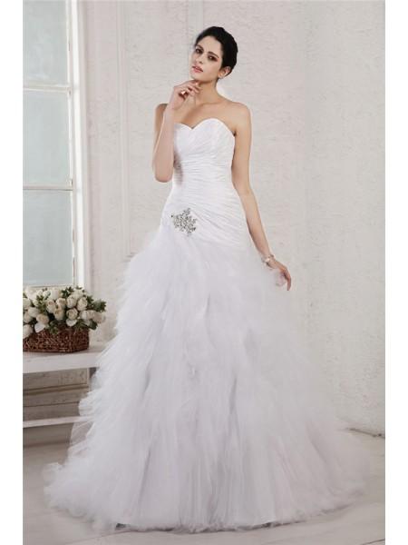 A-Line/Princess Sweetheart Sleeveless Applique Long Taffeta Net Wedding Dresses