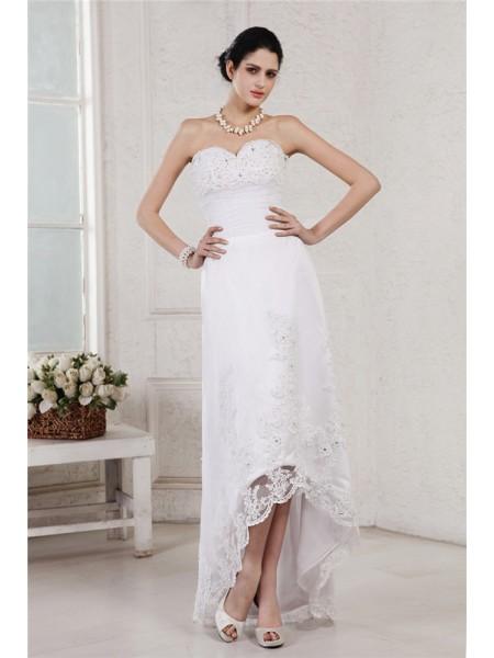 Sheath/Column Sweetheart Sleeveless Beading Applique High Low Organza Wedding Dresses