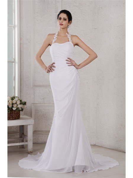 Trumpet/Mermaid Halter Sleeveless Beading Applique Long Chiffon Wedding Dresses