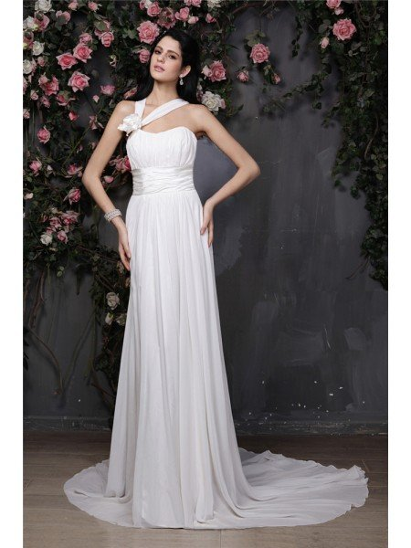 Sheath/Column Halter Sleeveless Hand-Made Flower Pleats Long Chiffon Wedding Dresses