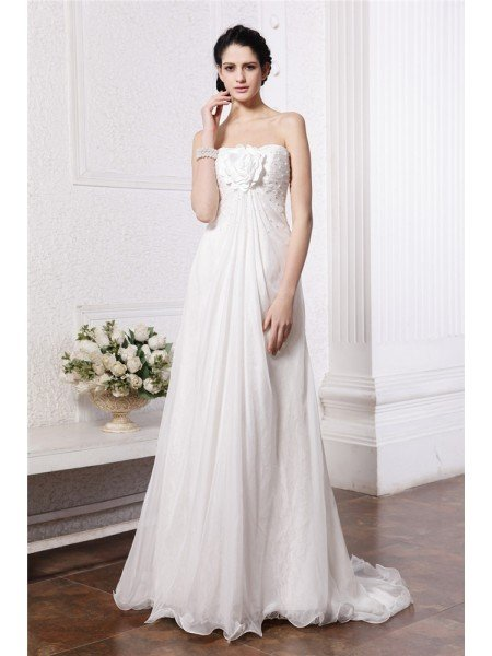 A-Line/Princess Strapless Sleeveless Beading Hand-Made Flower Long Chiffon Wedding Dresses